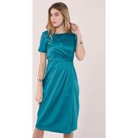 Teal Short Sleeve Wrap Over Dress
