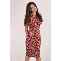 Multi Printed Wrap Detail Pencil Dress