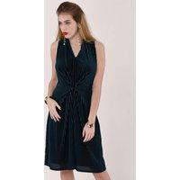 Teal Velvet Stripe V-Neck A-Line Dress