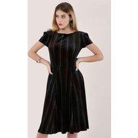 Black and Multi Velvet Short Sleeve Skater Dress