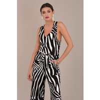 V-Neck Zebra Jumpsuit