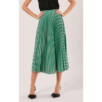 Teal Stripe Pleated Midi Skirt