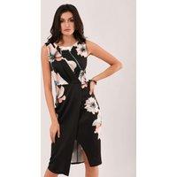 Black Floral Bodycon Pencil Dress
