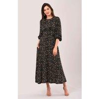 Black Geometric Shapes Puff Sleeve A-Line Dress