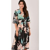 Duck Egg Floral High-Low Wrap Dress