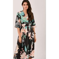 Duck Egg Floral High-Low Wrap Dress