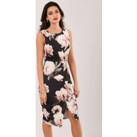 Closet London Navy Floral Draped Sleeveless Wrap Dress
