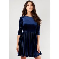 Navy Velvet Fit And Flare Skater Dress