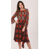 Red A-Line Dress With Godet