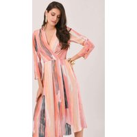 Apricot Paint Stripe Pleated Wrap Midi Dress