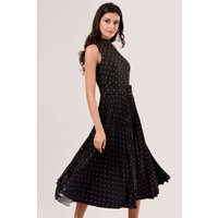 Closet GOLD Black and Rose Polka Dot Pleated Midi Dress