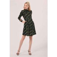 Black  Heart Print Tie Back A-Line Mini Dress