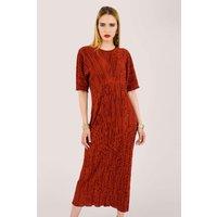 Maroon Ribbed V-back Kimono Midi Dress