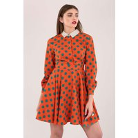 Orange Long Sleeve Collar Skater Dress