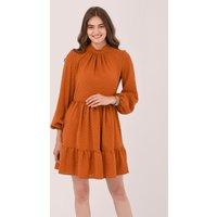 Tan High Collar Mini Dress