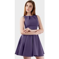 Purple Flared Belted Dress