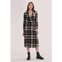 Beige Wrap A-line Dress