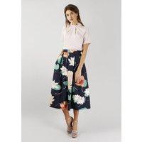 Closet London Navy Pleated Floral Skirt