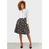 Closet Mono Print Full Pleat Skirt