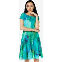 Closet Print Cap Sleeve Skater Dress