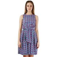 Closet BLU Tile Print Front Tie Dress