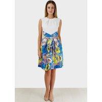 Closet Water Print Skirt Contrast Dress
