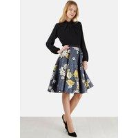 Metalic Floral Print Skirt
