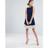 Closet Lace Hem Pleated Skater Dress