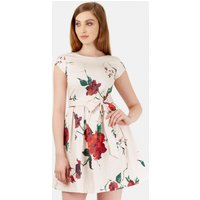 Multi Bow Tie Front Floral Pleat Dress