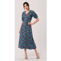 Closet London  Multi Floral Puff Sleeve V-Neck Midi Dress