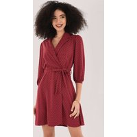 Closet London Burgundy Wrap Dress With Collar