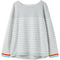 Joules Harbour Light Top Grey Cream Stripe Grey 8