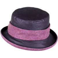 Heather Womens Emma Wax Tweed Band Hat Black/Bramble One