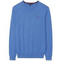 Crew Clothing Foxley V Neck Jumper Lapis Blue Marl Small