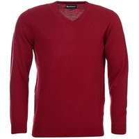 Barbour Mens Essential Lambswool V Neck Sweater Biking Red Small