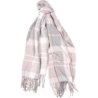 Barbour Tartan Boucle Scarf Soft Pink/Grey