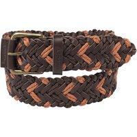 Schoffel Woven Leather Belt Brown/ Ochre XXL