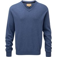 Schoffel Cotton/Cashmere V Neck Sweater Stone Blue Small