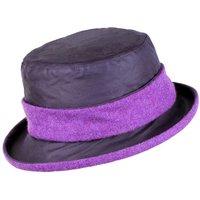 Heather Emma Wax Tweed Band Hat Navy/Purple One