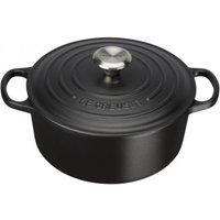 Le Creuset 24cm Cast Iron Round Casserole Dish Satin Black