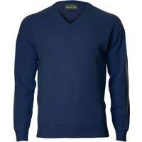 Alan Paine Mens Hampshire V Neck Sweater Indigo 38