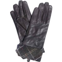Barbour Lady Jane Leather Gloves Chocolate/Green Tartan Small