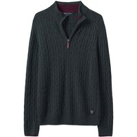 Crew Clothing Lambswool Cable 1/2 Zip Black Pine Small