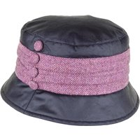 Heather Womens Emma Wax Tweed Pleat Hat Black/Bramble One