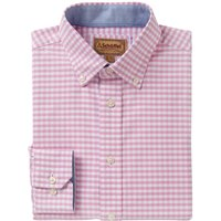 Schoffel Mens Soft Oxford Shirt Pale Pink Gingham 17 Inch