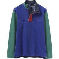 Crew Clothing Colour Block Padstow Pique Sweat Bright Cobalt / Green Lake Medium