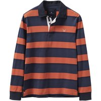Crew Clothing Long Sleeve Striped Rugby Top Heritage Navy/Amber Orange XL