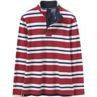 Crew Clothing Padstow Pique Sweat Crimson / Indian Ink / Linen Small