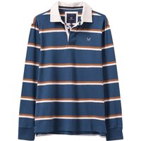 Crew Clothing Long Sleeve Rugby Shirt Petrol Stripe Small
