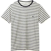 Joules Textured Stripe Tee Cream Navy Stripe Large